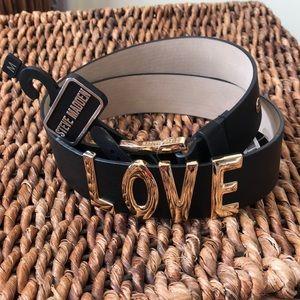 Steve Madden black and gold LOVE belt